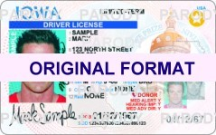 Iowa DRIVER LICENSE ORIGINAL FORMAT, DESIGN SPECIFICATIONS, NOVELTY SECURITY CARD PROFILES, IDENTITY, NEW SOFTWARE ID SOFTWARE Iowa driver