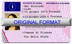Italy DRIVER LICENSE ORIGINAL FORMAT, DESIGN SPECIFICATIONS, NOVELTY SECURITY CARD PROFILES, IDENTITY, NEW SOFTWARE ID SOFTWARE Italy driver